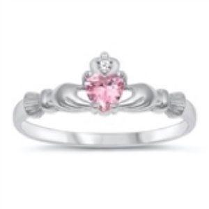 925 Sterling Silver Birth Stone Claddagh  Cz Ring